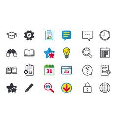 Pencil and open book signs graduation cap icon vector