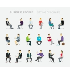 People set work sitting on chairs vector