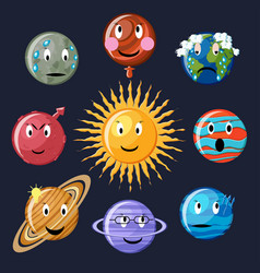 planets emoticon set vector image
