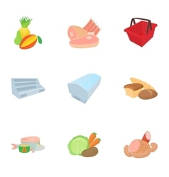 Products in store icons set cartoon style vector
