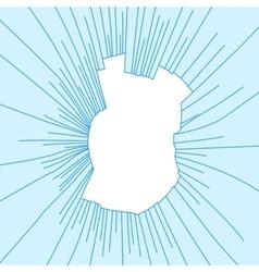 Radial cracks on broken blue glass vector