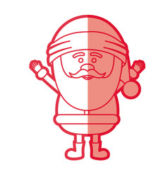 Red silhouette of santa claus with open arms vector