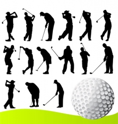 set of golf player vector image