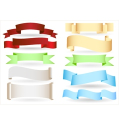 set of origami ribbons and banners text box vector image vector image