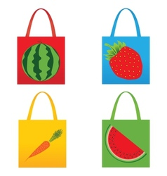 Set of shopping fruit bags vector