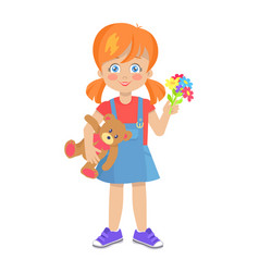 template of little girl with teddy bear vector image vector image