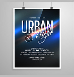 Urban night flyer music template poster vector