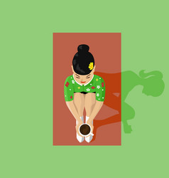 Young beautiful asian woman and tea ceremony vector