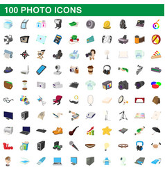 100 photo icons set cartoon style vector image