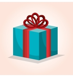 Blue box gift bow red design isolated vector