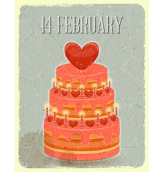 Valentines cake on grunge background vector