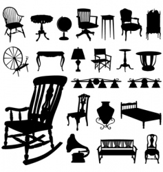set of antique furniture vector image
