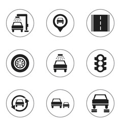 Set of 9 editable vehicle icons includes symbols vector