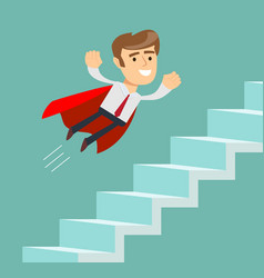 Flying super businessman in red cape climbing vector