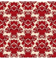 Seamless pattern damask flower red vector