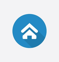 Home flat blue simple icon with long shadow vector