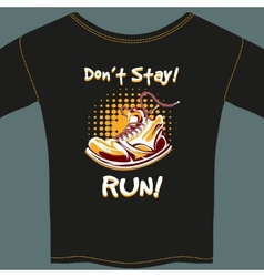 Shoe design on black t-shirt vector