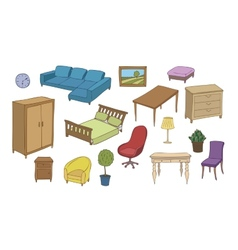 Furniture and decoration color set vector