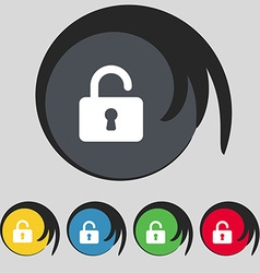 Open padlock icon sign symbol on five colored vector