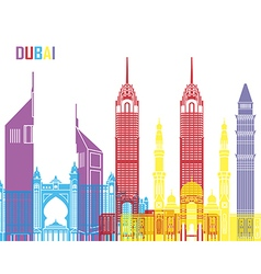 Dubai skyline pop vector image