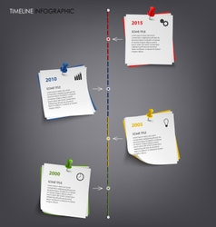 Time line info graphic with note colored paper vector