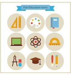 Flat school and education icons set vector