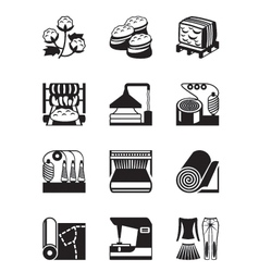 Production of cotton clothing vector image