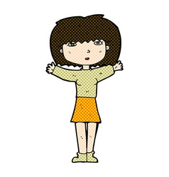 Comic cartoon woman raising arms in air vector