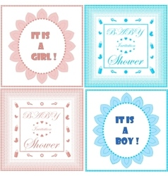 Baby shower invitation cards set vector