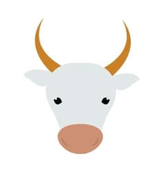 White silhouette of cow head farm animal beef vector