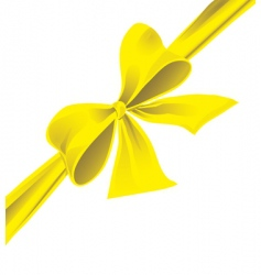 big bow of yellow ribbon vector image
