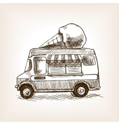 Ice cream van skecth style hand drawn vector