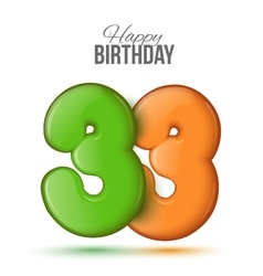 Birthday greeting card with numbers 33 thirty vector