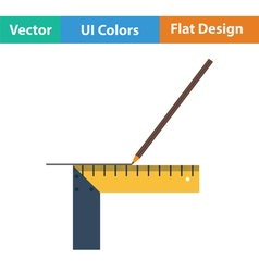 Pencil line with scale icon vector