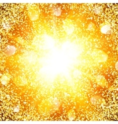 Abstract golden explosion with gold glitter vector