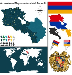Armenia with nagorno karabakh republic map vector