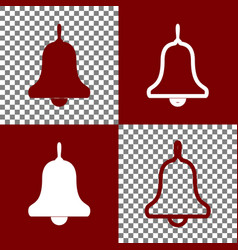 Bell alarm hand bell sign bordo and vector