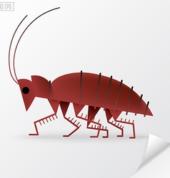 Brown cartoon cockroach in vector
