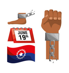 chain in the hand and foot with calendar and flag vector image