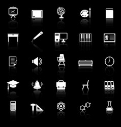 Classroom icons with reflect on black background vector