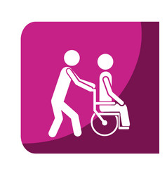 Color square frame with person helping another vector