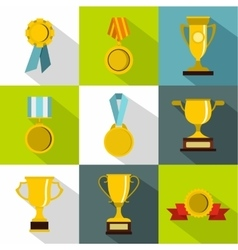 Competition icons set flat style vector