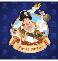 Drunken pirate with parrot sitting on a hat vector image vector image