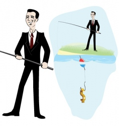 fishing for money vector image