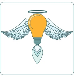 Glowing light bulb with angel wings halo and a vector
