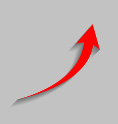 Growing arrow sign red icon with soft vector