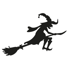 Halloween witch silhouette isolated vector