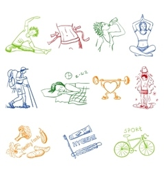 Hand drawn doodle sketch icons set healthy vector image