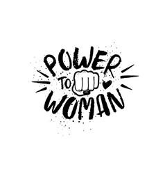 Hand drawn lettering girl power feminist slogan vector