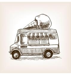 Ice cream van skecth style hand drawn vector image